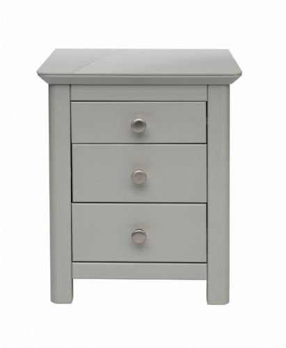 Elgin Grey and Glass 3 Drawer Bedside
